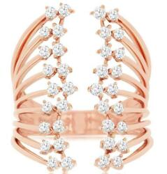 Estate Large .75ct Diamond 14kt Rose Gold 3d Round Multi Row Floral Love Ring
