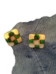 Asch Grossbardt 14k Gold Multi-stone Inlay French Post Earrings Jade Pearl