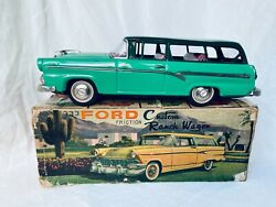 Bandai 333 Ford Custom Ranch Wagon Tin Toy Car Friction Vintage Boxed Rare