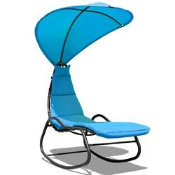 Patio Hanging Chaise Swing Lounge Chair Cushion Blue Outdoor Canopy Arc Stand