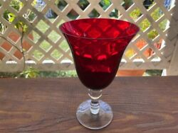 Four Ruby Red Stemmed Footed Wine / Water Glasses / Goblets Excellent Condition