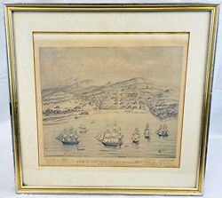 Two Vintage Lithographs City Views Of San Francisco Ships 1846 Currier And Ives