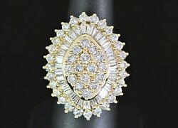 7,500 14k Yellow Gold Round Baguette Diamond Marquise Shape Cocktail Ring Band