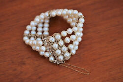 Heavy 14k Gold Rope Link And Clasp Four Strand Pearl Cuff Bracelet C.1960