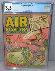 Air Fighters Comics V2 1 Wwii Cover Cgc 3.5 Vg- Hillman Periodicals 1943