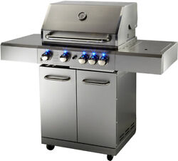 New Stainless Steel Outdoor Propane Gas Bbq 5 Burner Grill W/ Rotisserie + Cover