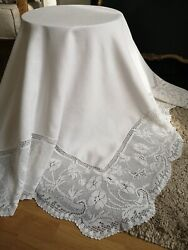 Vintage Irish Linen Crochet Lace Tablecloth Mary Card Anemone And Butterflies