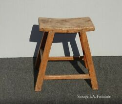 Vintage French Country Rustic Primitive Farmhouse Stool Bench