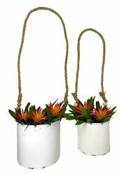 S 2 Wall Planters Half Bucket Metal Rustic White W Wooden Beads Vertical Wall...