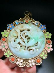 89.3 Mm China Antique Pendant Natural Green Jade Pendant Silver Amulet