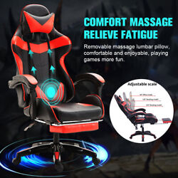 Red Gaming Chair Massage Office Chair Ergonomic Desk Chair Adjustable Pu Leather