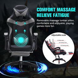 Gaming Chair Massage Office Chair Ergonomic Desk Chair Adjustable Pu Leather Us