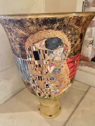 Vintage Murano Glass Vase Hand Painted With Gustav Klimt The Kiss