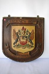 Antique Shield Shape Heraldic General Insurance Plaque Advertising Fire And Lifef