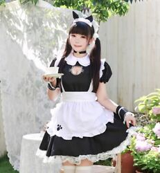 Black Cute Lolita Maid Party Stage Dress Costume Cosplay Girls Woman Waitres