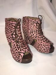 Jeffrey Campbell Shoes Mary Fur 9.5 Pink Leopard Brown Open Peep Toe Ankle Boots