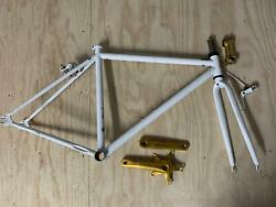 State Bicycle Company/co. White Phil 49cm Frame + Fork Crankshaft And Stem