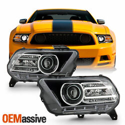 For 13-14 Ford Mustang [hid/xenon] Projector Headlight Led Bar Running Lamp Pair