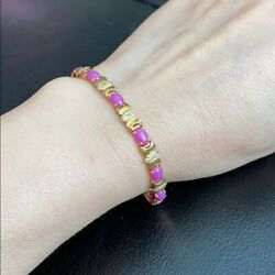 14k Solid Yellow Real Gold Oval Small Pink Star Women Bracelet 6 Inches - B29