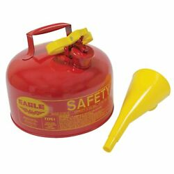 Red Metal Safety Fuel Can For 2 Gal With Funnel 24-gauge Galvanized 765-184