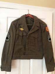 Vintage Wwii Us Military Ike Jacket 38r With Patches Named Air Transport Command