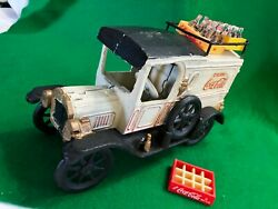 Vintage Cast Iron White Coca-cola Delivery Truck With Bottles In Crates