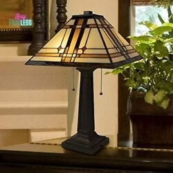 Style Table Lamp 2 Led Bulb Vintage Look Lampshade Home Accent Decor New