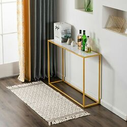 41.73 Console Table Faux Marble Top Gold Metal Leg Sofa Table Hallway Entryway