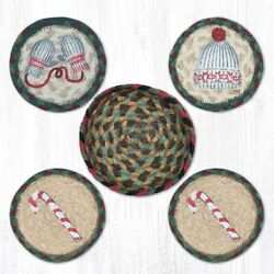 Capitol Importing 29-cb508w 5 X 5 In. Jute Round Winter Coasters In A Basket