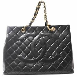 Auth Deca Coco Mark Reprint Chain Womenand039s Leather Tote Bag Black