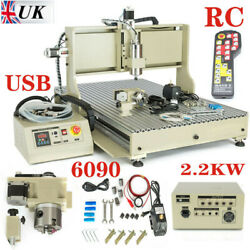 4 Axis 2.2kw Vdf 6090 Usb Cnc Router Engraver Drill Mill Cutter Machine W/ Rc Uk