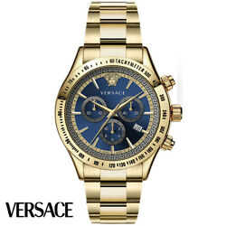 Versace Vev700619 Classic Chronograph Blue Gold Stainless Steel Men's Watch New