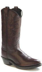 Old West Black Cherry Mens All Leather 13in Narrow Round Toe Cowboy Boots