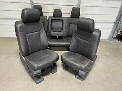 1999-2016 Ford F250 F350 F450 Super Duty Front And Rear Seats Black Leather
