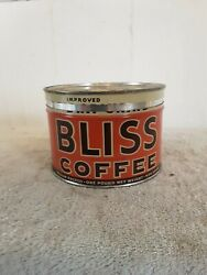 Bliss Coffee 1 Pound Keywind Tin Can W/lid And Key
