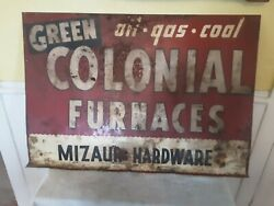 Vintage Colonial Furnace Gas Oil Coal Heavy Metal Sign. Double Sided 40 X 28