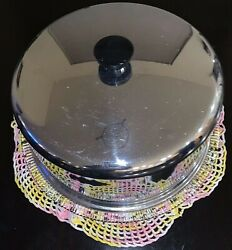 Vintage Glass Footed 12 Cake Platter Plate W/ Stainless Steel Dome Cover 1960s