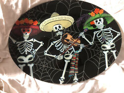 Tray Day Of The Dead Mexican Style Glass 3 Skeletons Dancing /violin