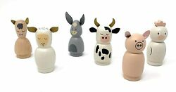 Hearth And Hand With Magnolia Wooden Farm Animal Figurine Set Of 6 Pieces