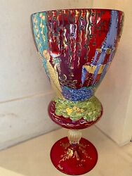 Vintage Murano Ruby Red Glass Hand Painted Vase By Onesto's