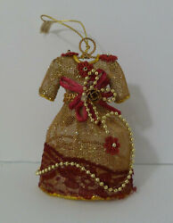 Vintage Dress Christmas Tree Ornament Standing Beaded Floral Holiday Decoration