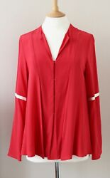 Zeus Dione Diana Pink Red Silk Blouse Top Shirt Fr38 Uk10 Us4-6