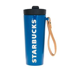 Starbucks Blue Vacuum Stainless Steel Tumbler Leather Strap Handle 16 Oz Thermos