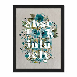 Floral Absolutely Blue Flowers Funny Framed Wall Art Print 18x24 In