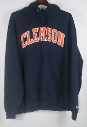 Champion Clemson Tigers Spell-out Embroidered Graphic Blue Hoodie Sweatshirt Xxl