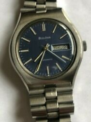 Vintage Bulova Classic Automatic Day Date Blue Dial Mens Watch Run Great