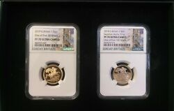 Rare 2 British 1 Gold Sovereign Set Pf70 - 2018 1 Of 150 And 2019 1 Of 50 With Coa