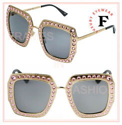 Hollywood Forever 0115 Gold Pink Crystal Stud Oversized Sunglasses Gg0115s