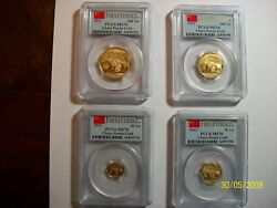 2013 China Pure Gold Panda 4 Coins Set Pcgs Ms 70 First Strike