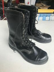 Vtg Nos Military Black Leather Carolina Jump Boot Ghostbusters Cosplay Usa 10 W
